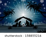 nativity scene with the holy... | Shutterstock .eps vector #158855216