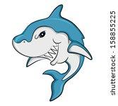 a hungry predator shark smiles... | Shutterstock .eps vector #158855225