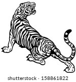tiger black and white vector illustration - stock vector