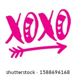cute valentine xoxo hugs and... | Shutterstock .eps vector #1588696168