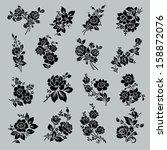 flower set. vintage rose... | Shutterstock .eps vector #158872076