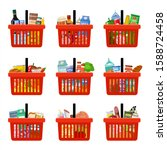 shopping baskets with groceries.... | Shutterstock .eps vector #1588724458
