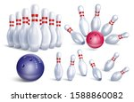 set of realistic bowling icons. ...   Shutterstock .eps vector #1588860082