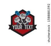 hand strong vector logo  badge  ... | Shutterstock .eps vector #1588881592