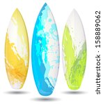 vector surf boards    grunge... | Shutterstock .eps vector #158889062