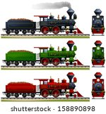 wild west steam locomotive.... | Shutterstock .eps vector #158890898
