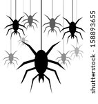 background with spiders hanging ...   Shutterstock .eps vector #158893655