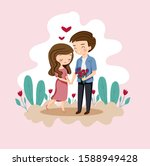 cute boy and girl with rose... | Shutterstock .eps vector #1588949428