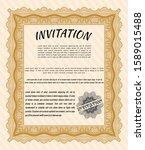 orange formal invitation... | Shutterstock .eps vector #1589015488
