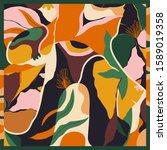 exotic trendy scarf print.... | Shutterstock .eps vector #1589019358