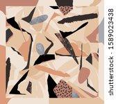trendy scarf print in pastels.... | Shutterstock .eps vector #1589023438