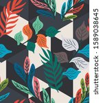 colorful tropical leaf  fern ... | Shutterstock .eps vector #1589038645