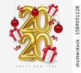 vector happy new 2020 year.... | Shutterstock .eps vector #1589051128