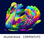 the swan is swimming. abstract ...   Shutterstock .eps vector #1589065192