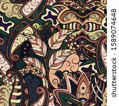 tracery seamless pattern.... | Shutterstock .eps vector #1589074648