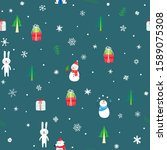 holiday seamless pattern with... | Shutterstock .eps vector #1589075308