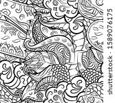 tracery seamless pattern.... | Shutterstock .eps vector #1589076175