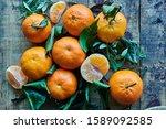Fresh Clementine On Wooden...