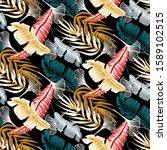 hawaiian hibicus seamless... | Shutterstock . vector #1589102515