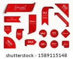 set of red sale label with... | Shutterstock .eps vector #1589115148