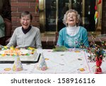 two elderly residents at an... | Shutterstock . vector #158916116