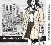 lovely winter girl on a street...   Shutterstock .eps vector #158916722