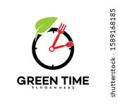 food time  logo green time...   Shutterstock .eps vector #1589168185