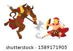 theseus and minotaur flat... | Shutterstock .eps vector #1589171905