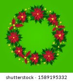 christmas wreath pattern with...   Shutterstock .eps vector #1589195332