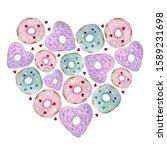 watercolor hand drawn heart... | Shutterstock . vector #1589231698