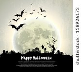 happy halloween sign and theme... | Shutterstock .eps vector #158926172