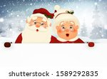 mrs. claus together. vector... | Shutterstock .eps vector #1589292835