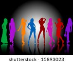 fashion silhouettes | Shutterstock .eps vector #15893023
