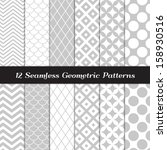 Gray and White Geometric  Patterns. Retro Mod Backgrounds in Jumbo Polka Dot, Diamond Lattice, Scallops, Quatrefoil and Chevron Patterns. Pattern Swatches made with Global Colors. | Shutterstock vector #158930516