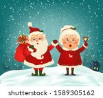merry christmas. happy new year.... | Shutterstock .eps vector #1589305162