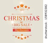 christmas sale card over beige... | Shutterstock .eps vector #158932382