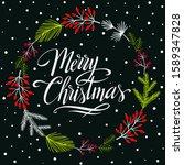 christmas wreath with berries... | Shutterstock .eps vector #1589347828