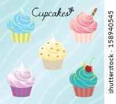 cupcakes | Shutterstock .eps vector #158940545