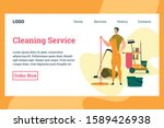 man in uniform holding mop for... | Shutterstock .eps vector #1589426938