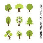 tree icons set | Shutterstock .eps vector #158948252