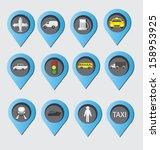 transport buttons set. vector...   Shutterstock .eps vector #158953925