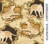 leopard animal in golden frame...   Shutterstock . vector #1589558605