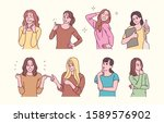 pretty women characters with... | Shutterstock .eps vector #1589576902