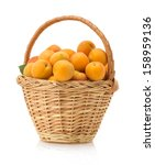 Apricot In Basket Isolated On...