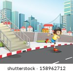 illustration of a young girl... | Shutterstock .eps vector #158962712
