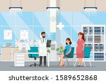 doctor with pregnant women... | Shutterstock .eps vector #1589652868