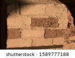 Section Of A Rust Red Mud Brick ...
