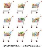 set of food carts. supermarket. ... | Shutterstock .eps vector #1589818168