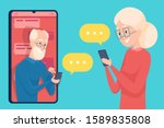 old person messaging.... | Shutterstock .eps vector #1589835808