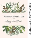 vintage card with evergreen... | Shutterstock .eps vector #1589865325